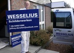 Belettering reclamebord Wesselius