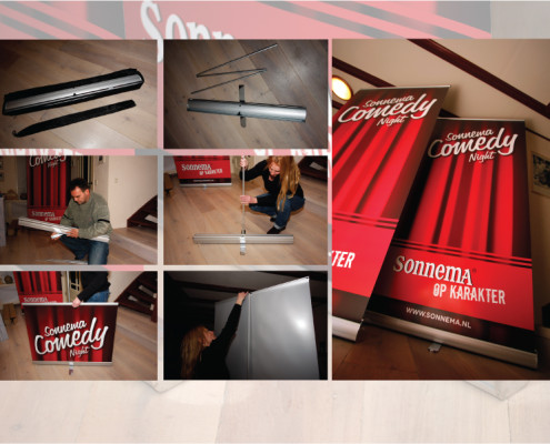 Roll up banners Sonnema comedy night