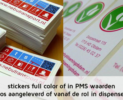 Full color bedrukte stickers met naamlogo