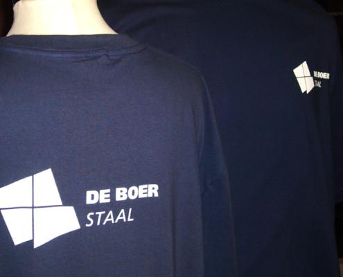 T-shirt met naamlogo bedrukt De Boer Staal